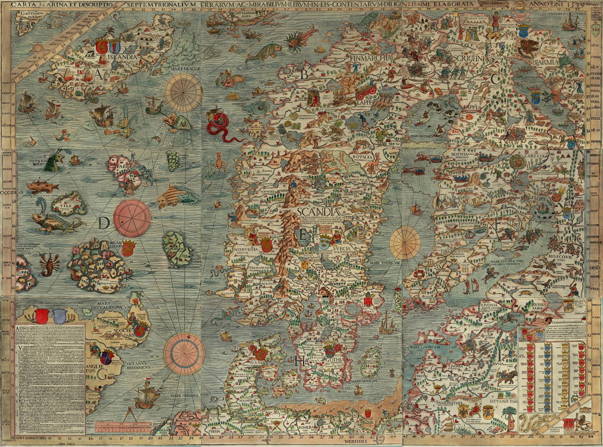 La Carta Marina es un mapa de Escandinavia de gran tamaño hecho por Olaus Magnus. La leyenda dice: «Un mapa marino y descripción de las tierras nórdicas y de sus maravillas, dibujado cuidadosamente en Venecia en el año 1539 con la generosa ayuda del honorabilísimo Señor Hieronymo Quirino».