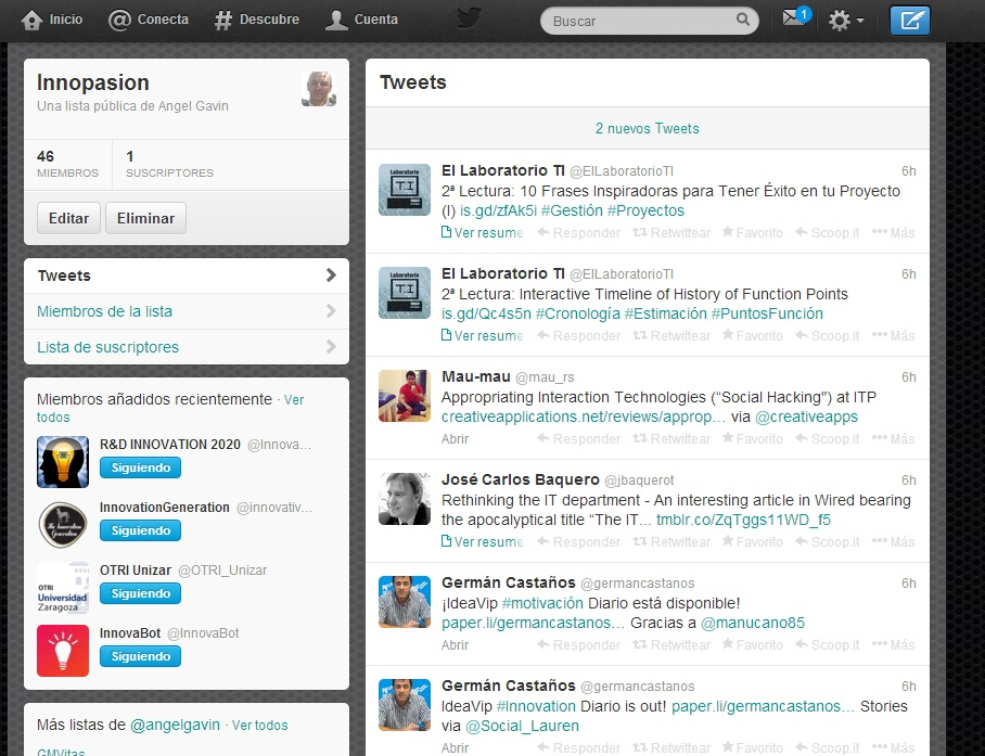 #Innopasion Lista de Twitter