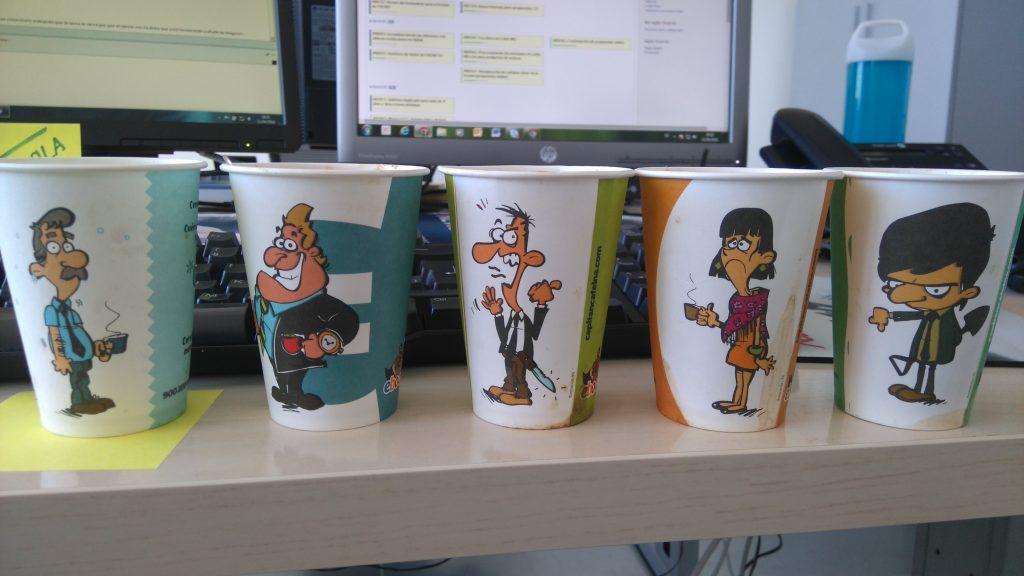 Vasos de la campaña del Capitán Cafeína